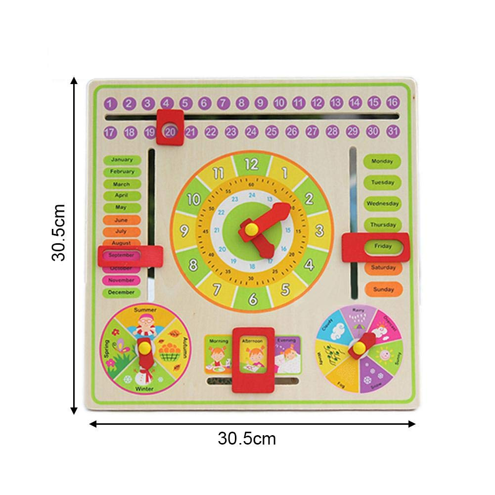 dewdropy Clock Hanging Board Multi-Functional Training Clock Calendar Board Early Childhood Education Parent-Child Toy