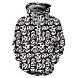 Unisex Mens Casual Scary Halloween Skull 3D Print Party Long Sleeve Sweatshirt Hoodie Top Blouse