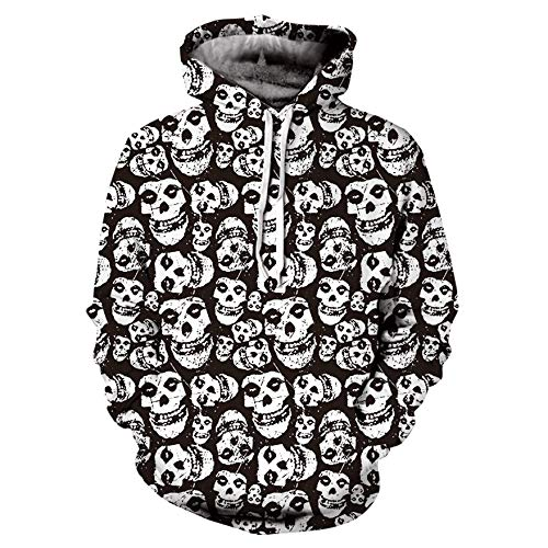Unisex Mens Casual Scary Halloween Skull 3D Print Party Long Sleeve Sweatshirt Hoodie Top Blouse by Sinzelimin Men's Top