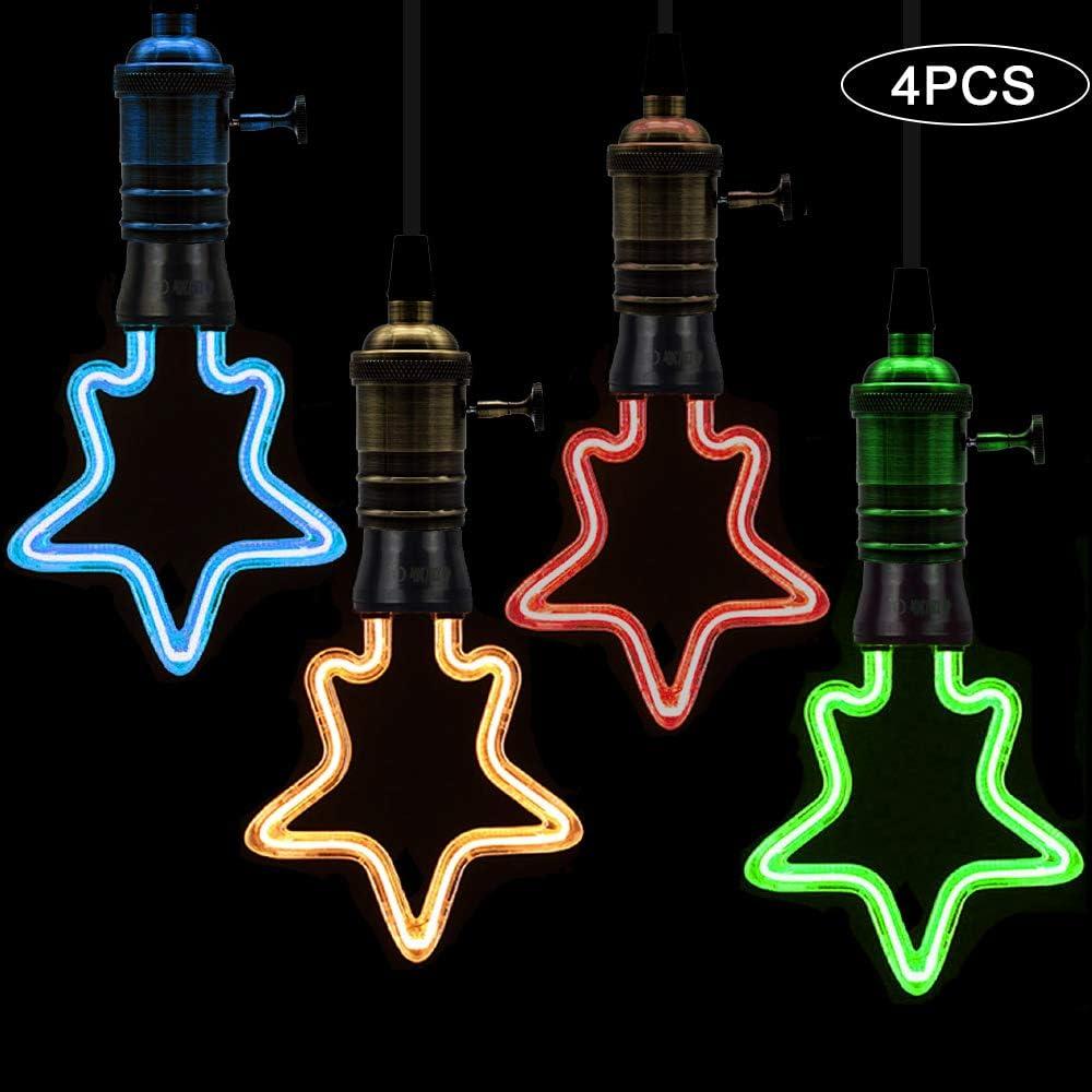 Yafido E27 Decorative /étoile LED 4W 4 Couleurs 2200K Ampoule Ancienne Style Vintage LED Applicable Bar Christmas Lot de 4