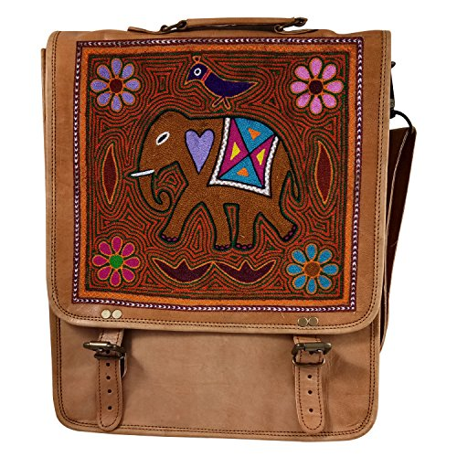 - Handmade Crafted Ethnic Leather Embroidered New Generation Laptop Bag or Backpack or Shoulder Bag With Camel Design or Use for all type Gifting Purpose | Authentic Goat Leather Unisex Fashion Bags