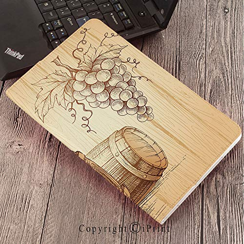 Case for Samsung Galaxy T820 T825 Slim Folding Stand Cover PU Tab S3 9.7,Wine,Wooden Barrels and Bunch of Grapes on Wood Backdrop Botany Harvest Theme Artwork Decorative,Brown Peach