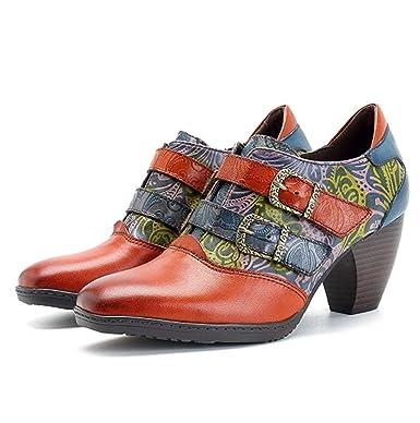 SERAPH Las Mujeres De Invierno De Cuero Botas De Tobillo Medio Bloque Botines Hechos A Mano Retro Boda Zapatos De Fiesta: Amazon.es: Ropa y accesorios