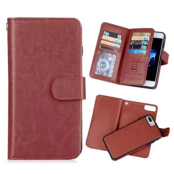 253ab626934e Hynice iPhone 8 Plus iPhone 7 Plus Wallet Case, Detachable PU Leather Case  with 9 Card Slots Holder Magnetic Slim Shockproof Cover for ...