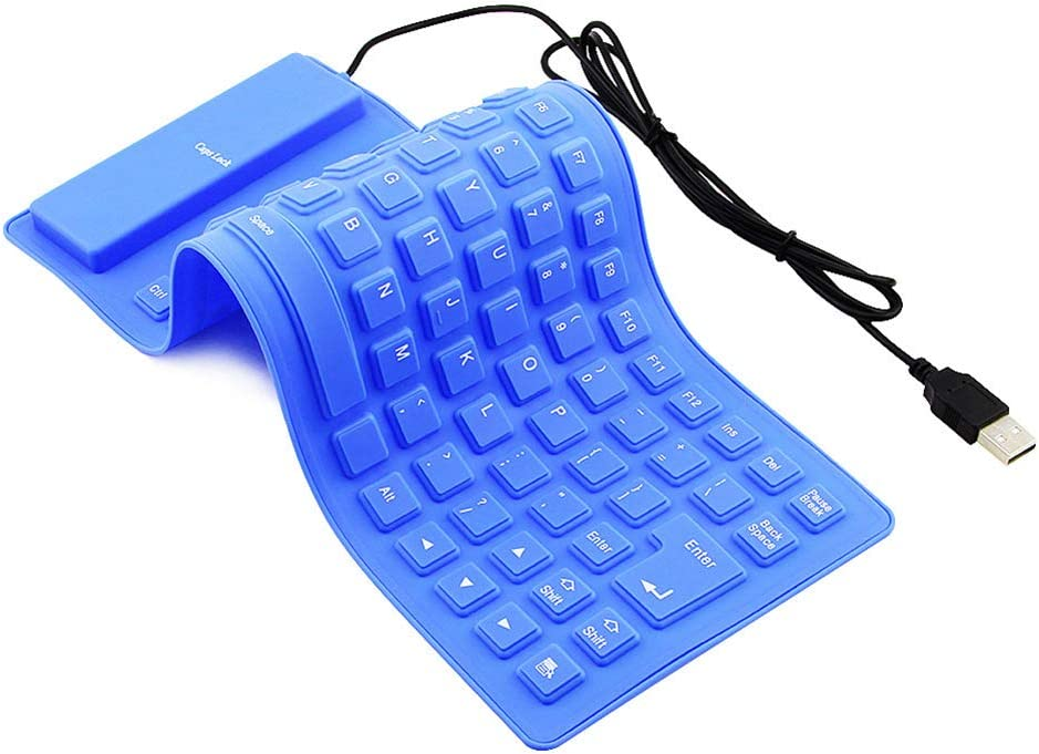 Aland 85 Keys USB Wired Waterproof Folding Silicone Keyboard for PC Laptop Notebook Blue