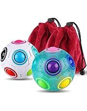 Rainbow Puzzle Ball Cube Magic Rainbow Ball Bundle Stress Fidget Ball Fidget Toys for Kids Set of 2