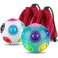 3D Rainbow Puzzle Ball Cube Magic Rainbow Ball Bundle Stress Fidget Ball Fidget Toys for Kids Set of 2