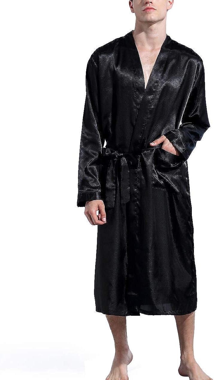Mobarta Men's Satin Kimono Robe Long Bathrobe Lightweight Loungewear Sleepwear Silk Nightwear Spa Bathrobes Black