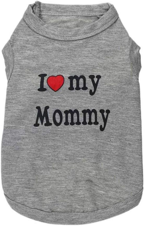 AYWJ Camisa del Perro Ropa del Perrito Amo A Mi Papá, Mamá Camisetas del Perro para Los Perros Pequeños, Pequeño (Color : I Love Mummy, Tamaño : L): Amazon.es: Productos para mascotas