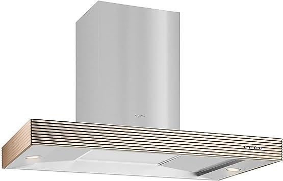 Klarstein Bar Boim Diseño campana 90 cm pared de campana (637 M³/h Canalizado de potencia, 2 x Iluminación halógena de aluminio, filtro de grasa para lavavajillas, incluye montaje de pared Set) Plata: