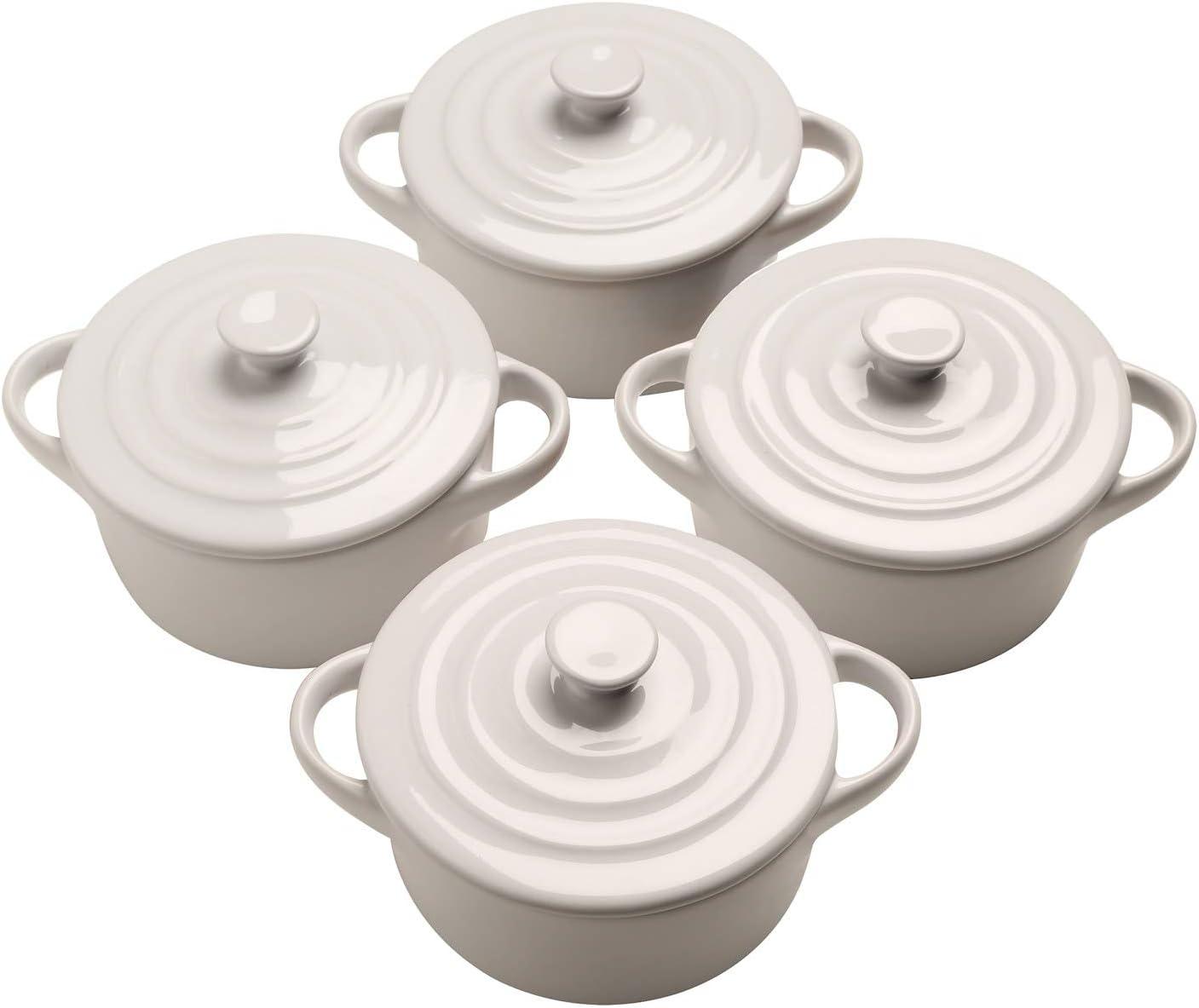 Home District Mini Casserole Pots - Set of 4 White Lidded Stoneware Dishes, Soup Crocks Oven Safe, Holds 8 Oz. Each
