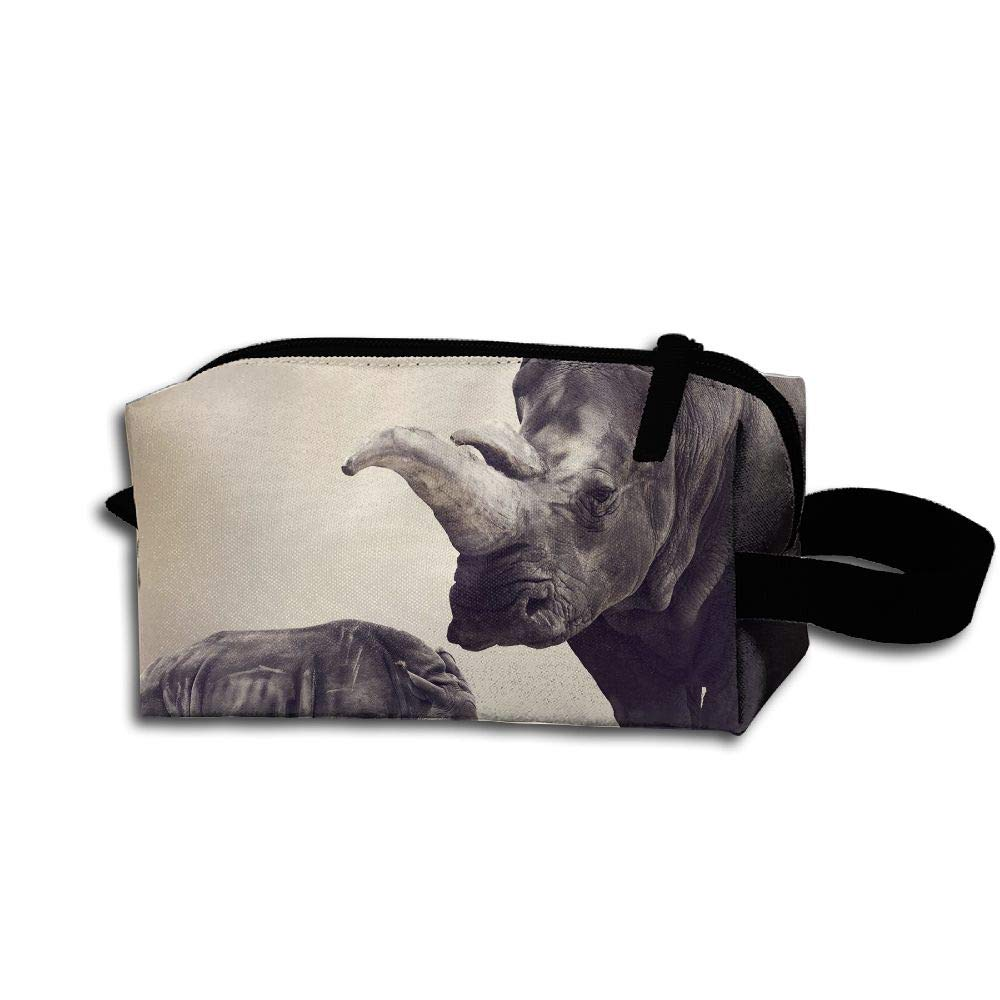 Makeup Cosmetic Bag Animals Rhinoceroses Medicine Bag Zip Travel Portable Storage Pouch For Mens Womens