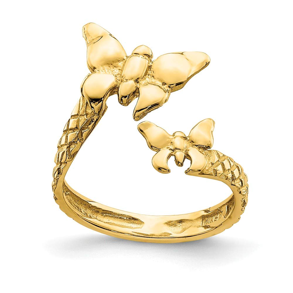 14K Yellow Gold Polished & Textured Butterfly Toe Ring by BillyTheTree Jewelry