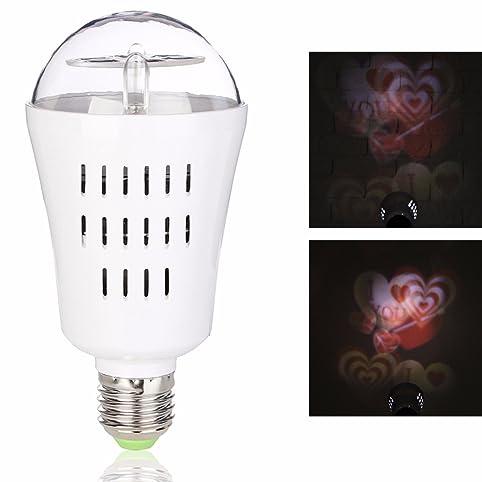 Jeteven LED Project Light Bulb, Auto Rotating Projection Night Lamp 4W 4  LEDs E27 Base
