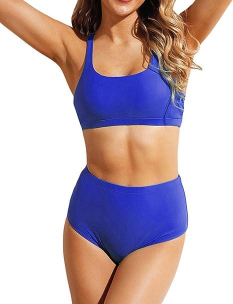 Damen Hohe Tailliertes Bikini Set Bauchfreies Top Shorts Strand Badeanzug