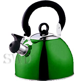 GREEN WHISTLING KETTLE 2L  NEW/& BOXED FOR CAMPING GAS