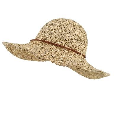 LETHMIK Womens Floppy Straw Hat Summer Beach Brimmed Ladies Crushable Sun  Hat Beige 2d3e0c8acbc