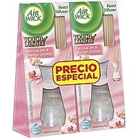 Air Wick Reed Diffuser Aromatizante De Ambiente, Precious Silk & Oriental Orchids, color Pink, 2PK x 50ml, pack of/paquete de