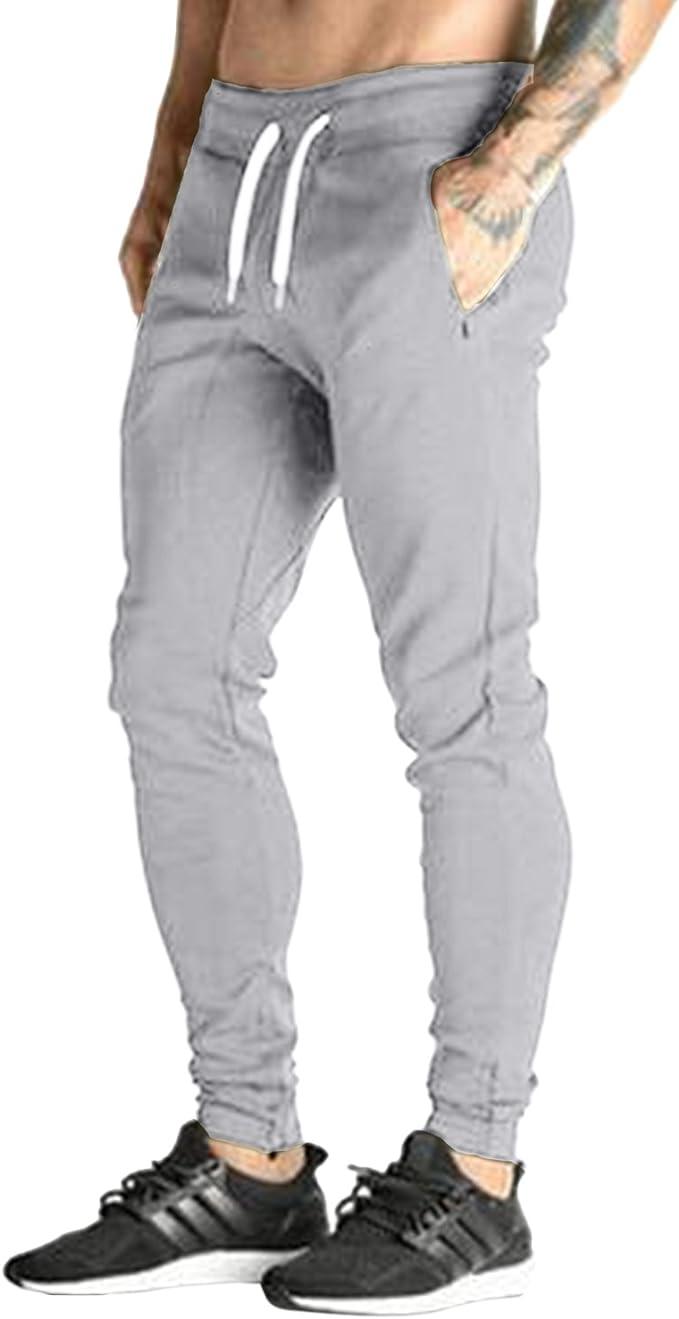 New Mens Casual Gym Tracksuit Bottoms Plain Jogging Trousers Joggers Sweat Pants