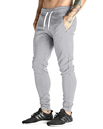 f1703875d60ea MODCHOK Homme Pantalon Jogging Bas de Survêtement Sweat Pants Sport Slim Fit,  Gris Clair,