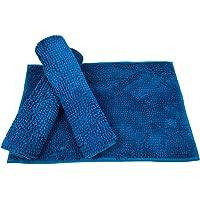Tapete De Banheiro Antiderrapante Bolinha Microfibra 70x50 cm Cor:Azul