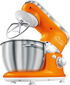 Sencor STM3623OR 6 Speed Stand Mixer with Pouring Shield and 4 Specialized Metal Attachments and Stainless Steel Bowl, 4.2 Qt, Orange