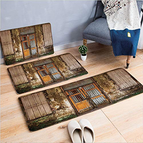 3 Piece Non-Slip Doormat 3d print for Door mat living room kitchen absorbent kitchen mat,House with Boarded Up Rusty Doors and Mold Windows,15.7