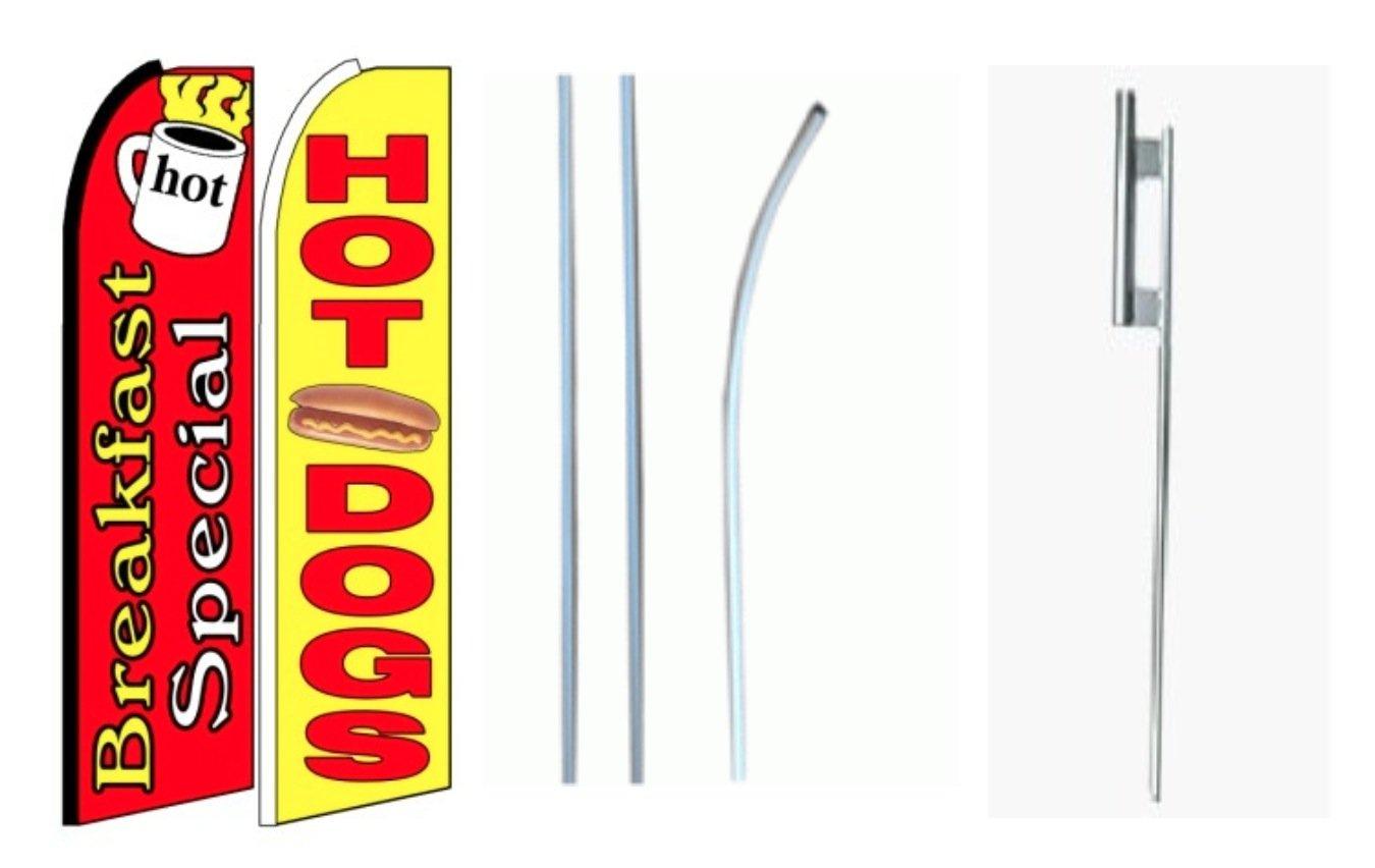 【セール】 朝食Special Sign/ホット犬KingサイズSwooper Flag Sign with with Pole andフルアセンブリ2個のパック Flag B00NO7NV98, LIMITED EDT:14dd5a31 --- xienttechnologies.com