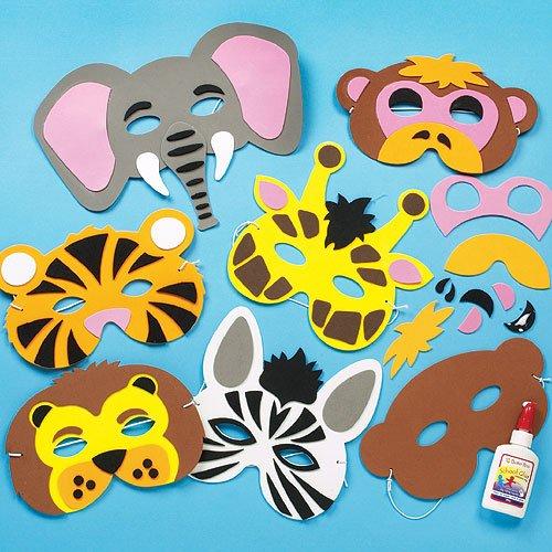Baker Ross Lot de 6 kits de fabrication de Masques en Mousse - Motif Animaux de la jungle comprenant un Singe, Tigre, Lion, Elephant, Zèbre & Giraffe - Idéal pour le Carnaval.