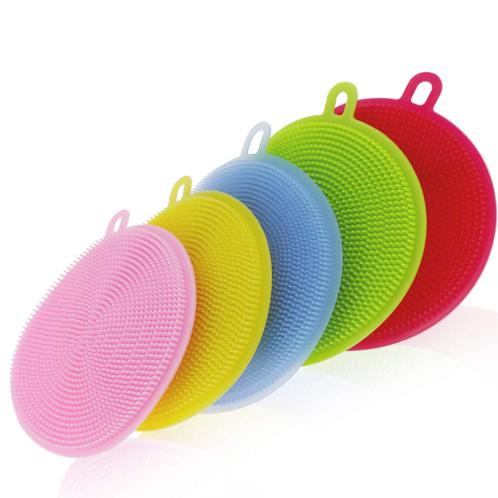 UUSHER Silicone Scrubber, Silicone Sponges Multipurpose Antibacterial Kitchen Scrub Brush for Dish Pot and Veggies Fruit Non-Stick Pan 5 Colors