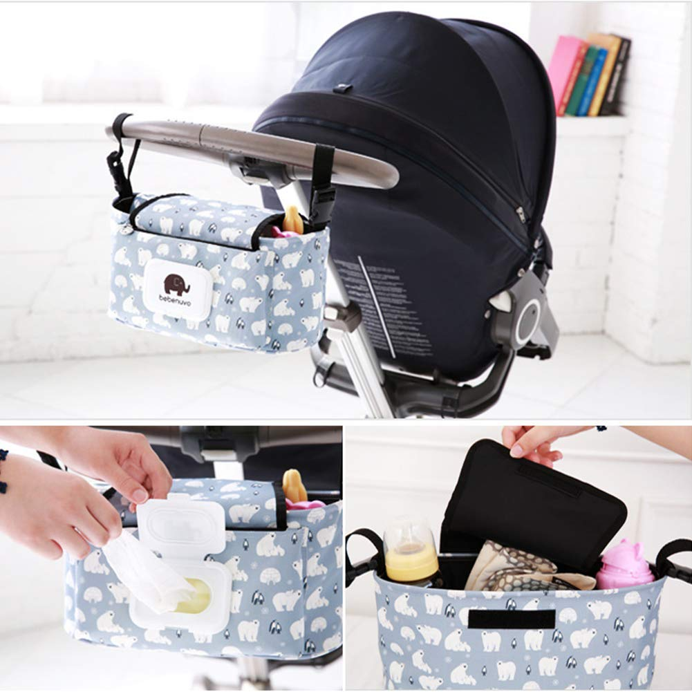 Pink Flower-L Baby Stroller Organizer Storage Bag Toys Diapers Bottle and Accessories Large Capacity Pushchair Organizer for iPhone Pram Buggy Hanging Bag with Adjustable Strap