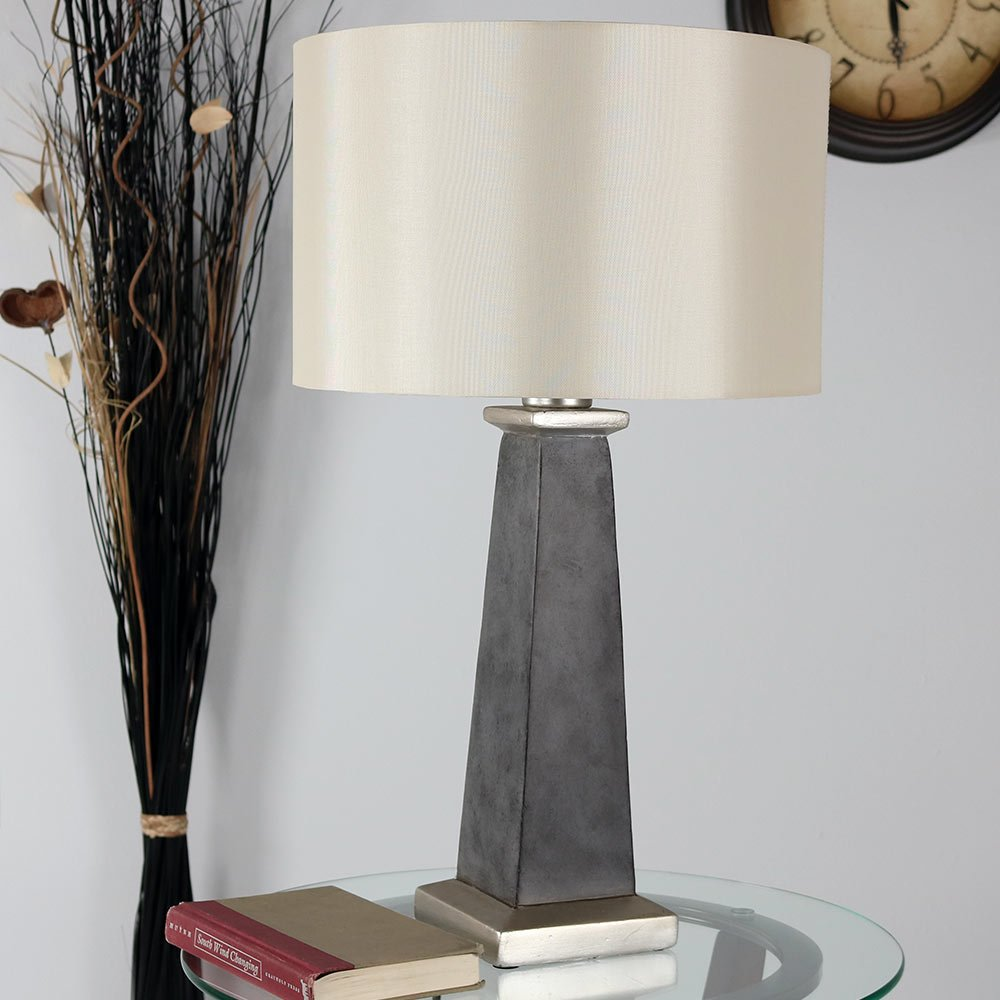 Sunnydaze 27-Inch Modern Pillar Concrete Indoor Accent Table Lamp