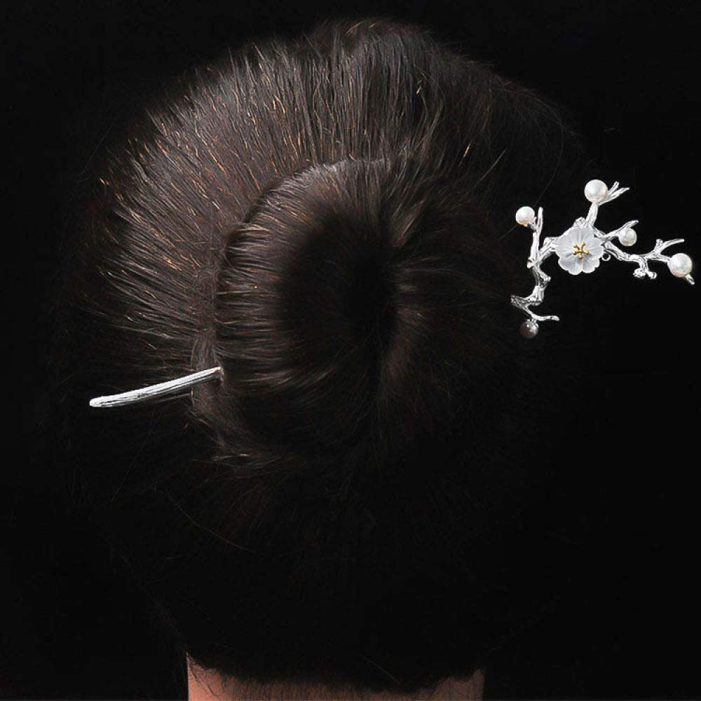 THTHT 925 Sterling Silver Hairpin Hair Stick Retro Chinese White Crystal Cherry Blossom Classical Feminine Temperament Bride Hair Accessories Decoration Fixed