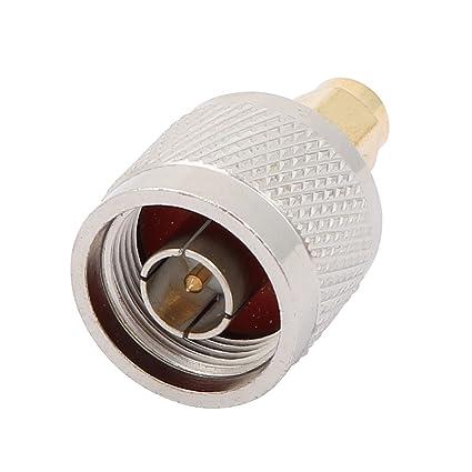 sourcingmap Adaptador Conector Cable Coaxial RF Tono Plata Conector SMA Macho a Macho Conector tipo N M