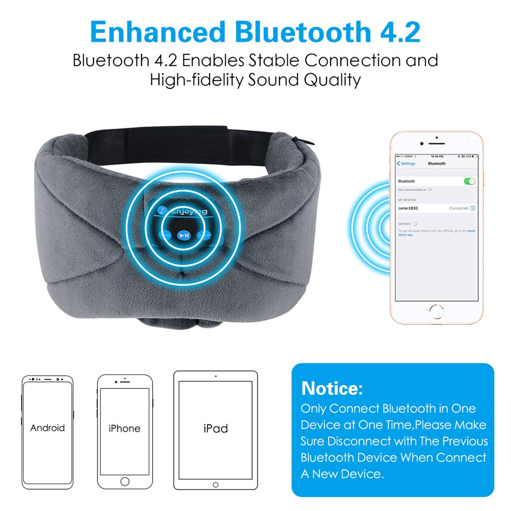 ink-topoint Bluetooth Sleep Eye Mask Headphones, Sleeping Eye Shades Bluetooth 4.2 Music Headset Wireless Sleep Mask with Built-in Speaker Washable for Traveling