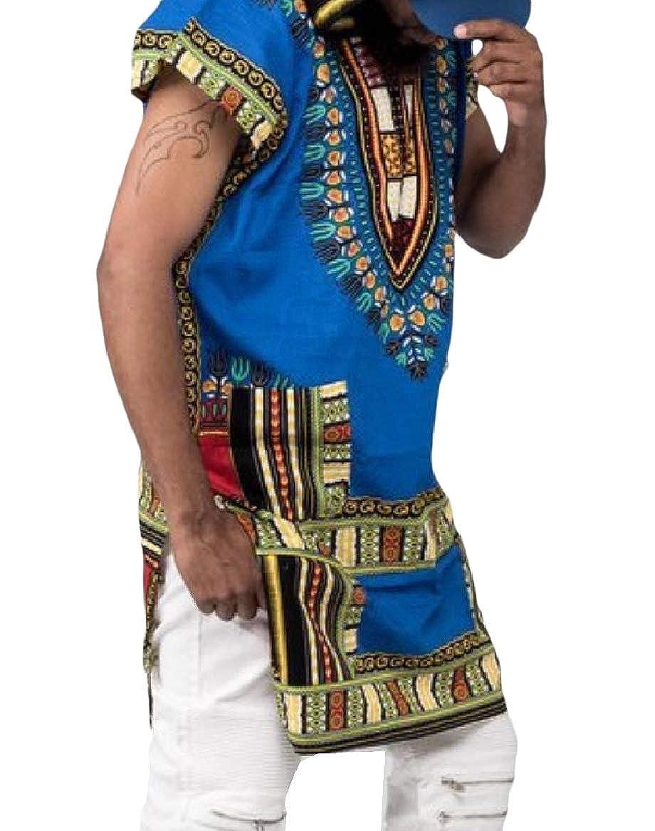 VITryst-Men Basic Style Ethnic African Dashiki Hooded Blouse T-Shirt Tops