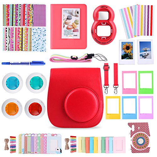 MoroTek 12 in 1 Fujifilm Instax Mini 8/8+ or Instax Mini 9 Accessories Bundles include Case/Album/Strap/3 Styles Frames/Selfie Lens/Filters /Stickers/Pen (Red Contact Lenses For Sale)