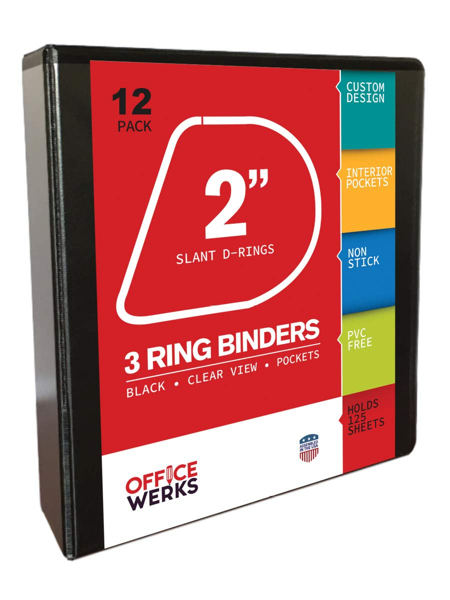 3 Ring Binders, 2 Inch Slant-D Rings, Black, 12 Pack, Clear View, Pockets by Ring Binder Depot