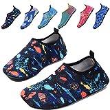 QTMS Kids Boys Girls Water Shoes Barefoot Quick Dry Aqua Socks Swim Shoes (Toddler)-04Blue-24