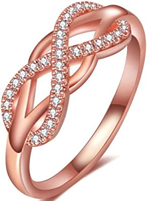 Jude Jewelers Silver Rose Gold Plated Infinity Heart Wedding Engagement Promise Statement Anniversary Ring