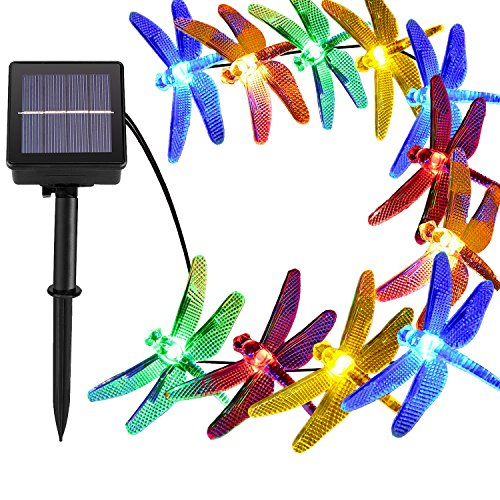 [21ft 30 Led] Solar Outdoor Dragonfly Lights Outside String Lighting , 8 Mode (Steady, Flash), Waterproof, Fairy Decorations for Patio, Garden, Yard, Fence, Christmas Tree, Holiday (Multi Color)
