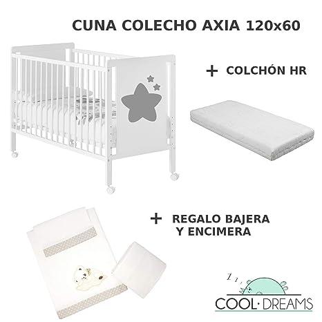 Cuna colecho de bebe Axia + Kit colecho + Colchón HR + 4 ruedas + Regalo CoolDreams