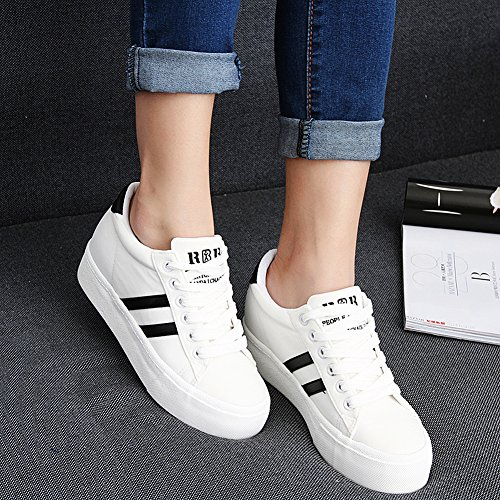 Trainers Lace Two Fashion Sneakers White Canvas Shoes Low Comfort Renben Up Wedge Heel Ribbons Women wUO5ZqS