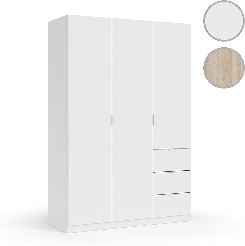 Habitdesign LCX353O - Armario ropero Tres Puertas y Tres cajones, Acabado Color Blanco, Medidas 200x135x52 cm de Fondo