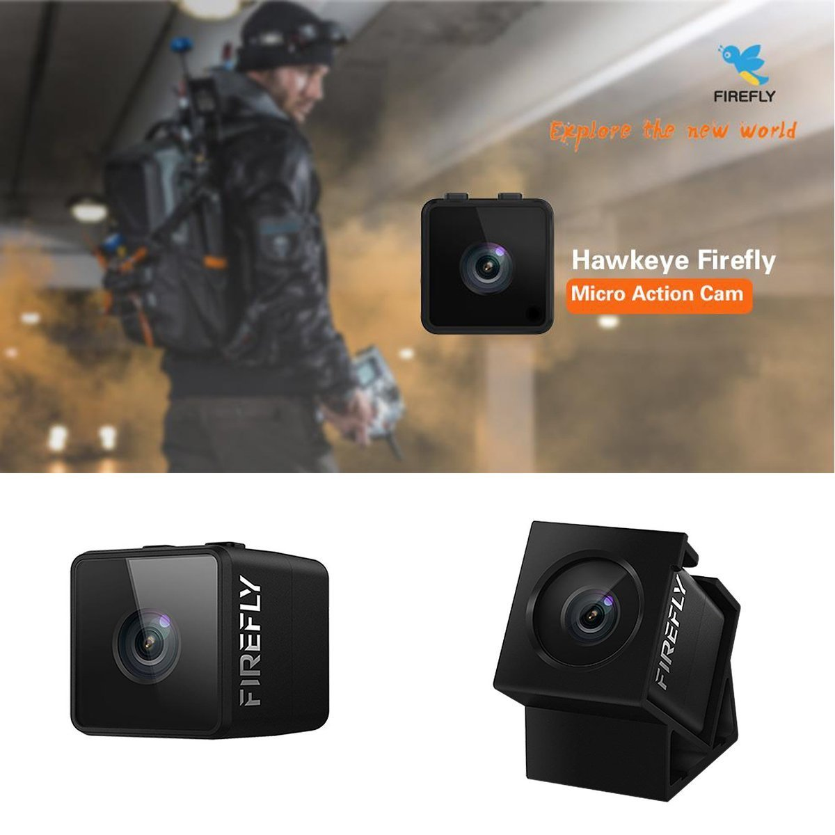 Mini FPV Camera Hawkeye Firefly Spy Camera 160 Degree HD 1080P FPV Micro Action Camera DVR Built-in Mic for RC Drone by Firefly (Image #4)
