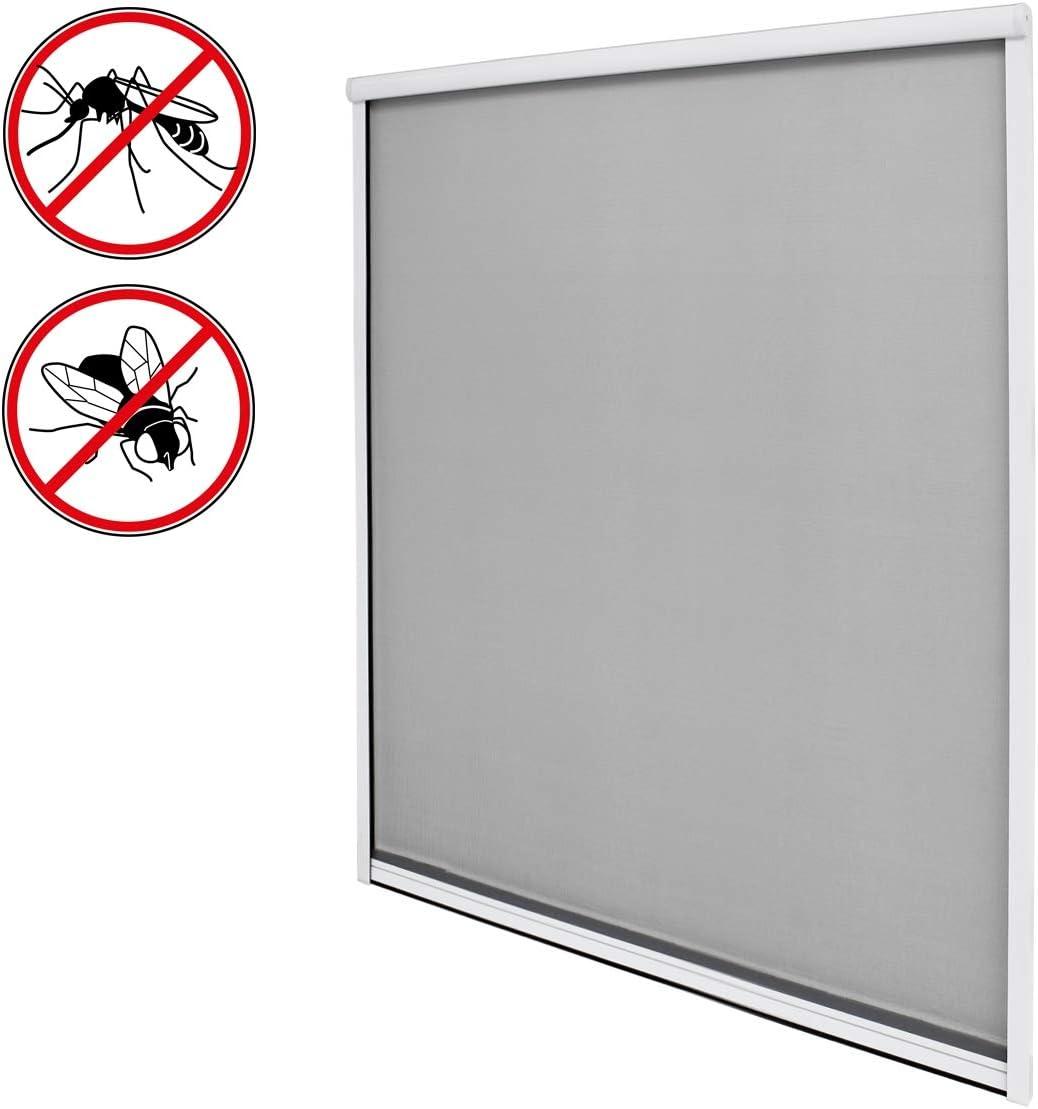 ECD Germany Moustiquaire pour fen/être moustiquaire en Fibre de Verre Blanc- r/ésistant aux intemp/éries 160 x 160 cm