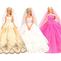 Barwa 3 Wedding Dresses + Veil for 11.5 Inch 28 -30 cm Dolls (White + Pink + Brown)