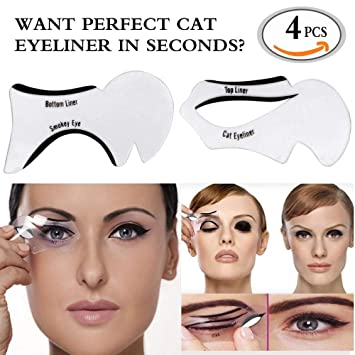 EyeLiner Stencils,Travelmall Makeup Beauty Cat Eyeliner Smoky Eyes Eyebrows Template Card Makeup Tool (