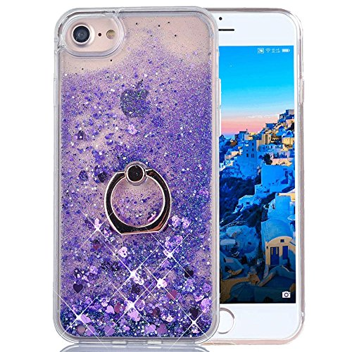 iPhone 5S Liquid Case Glitter Cover Fashion Luxury Sparkling Liquid Quicksand Soft TPU + Hard PC Back Case 360 Rotating Ring Stand Holder Kickstand for Apple iPhone SE/5 5S. Liquid- Love Purple