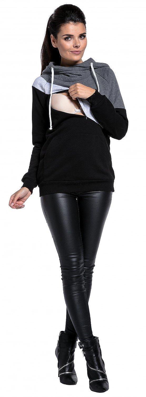 Zeta Zeta Zeta Ville - Umstands Stillen Sweatshirt Farbblock Kängurutasche - Damen - 321c B075YZZR79 Sweatshirts Ruf zuerst 872240
